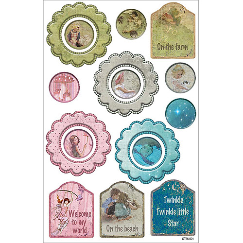 Fabscraps Little Peeps Clear Stickers, 8.25 inch x 5.25 inch, Flowers, Rounds & Tags