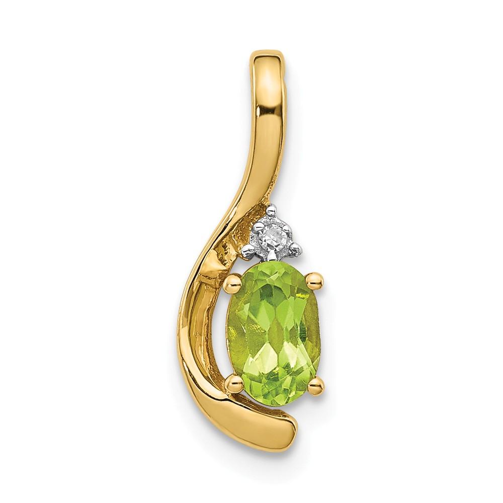 14k Yellow Gold 6x4 Oval Diamond & Peridot Pendant