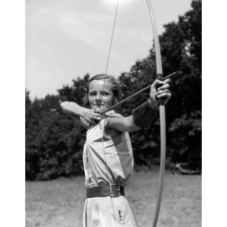 1930s Girl Wearing A Camp Jumper With Wide Leather Belt About To Release An Arrow From Bow Print By Vintage Collection thumbnail