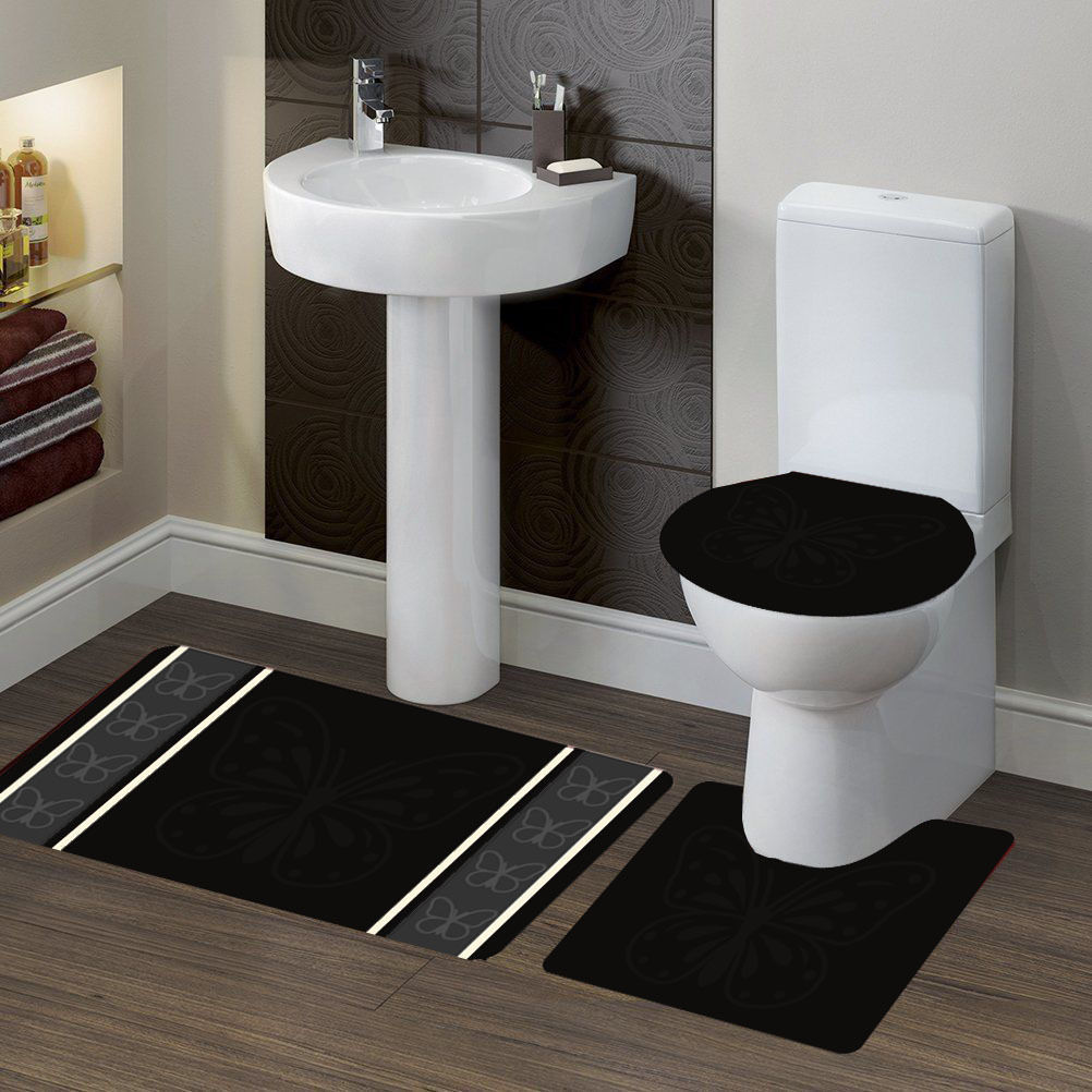 "3-PC (#7) Butterfly Black HIGH QUALITY Jacquard Bathroom Bath Rug Set Washable Anti Slip Rug 18""x28"", Contour Mat 18""x18"" and Toilet Seat Lid Cover 18""x19"" with Non-Skid Rubber Back"