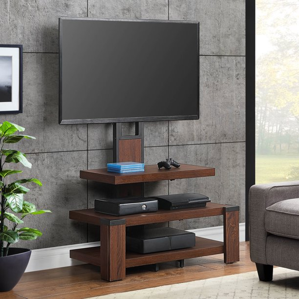 Whalen 3 Shelf Television Stand With Floater Mount For Tvs Up To 55 Perfect For Flat Screens Dark Cherry Finish Walmart Com Walmart Com