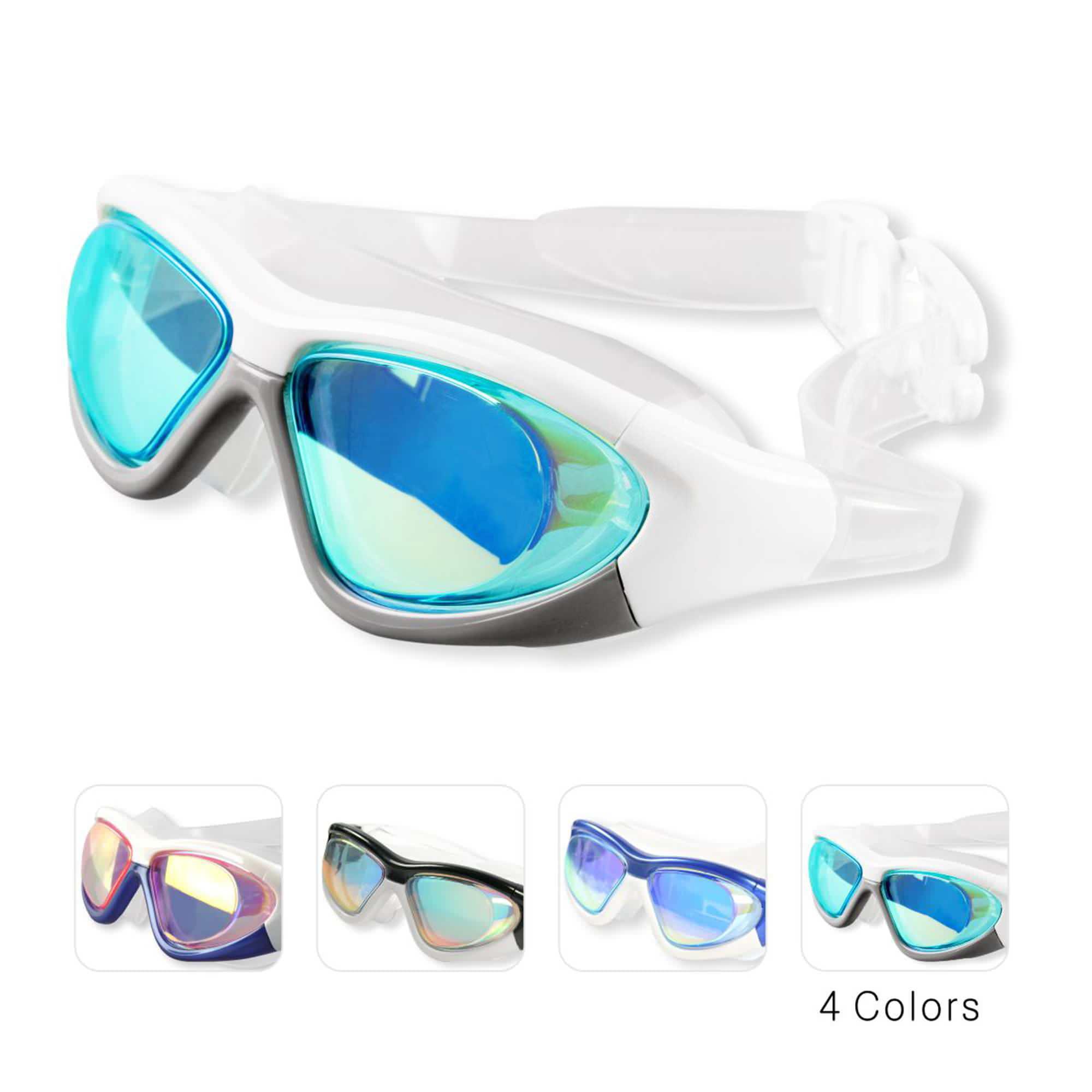 Black Nose Clip+Ear Plug+Anti fog UV Swimming Swim Adjustable Glasses B ER