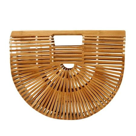 Summer Beach Fashion Women Natural Bamboo Handbag Handmade Unique Tote Bags - image 1 of 8