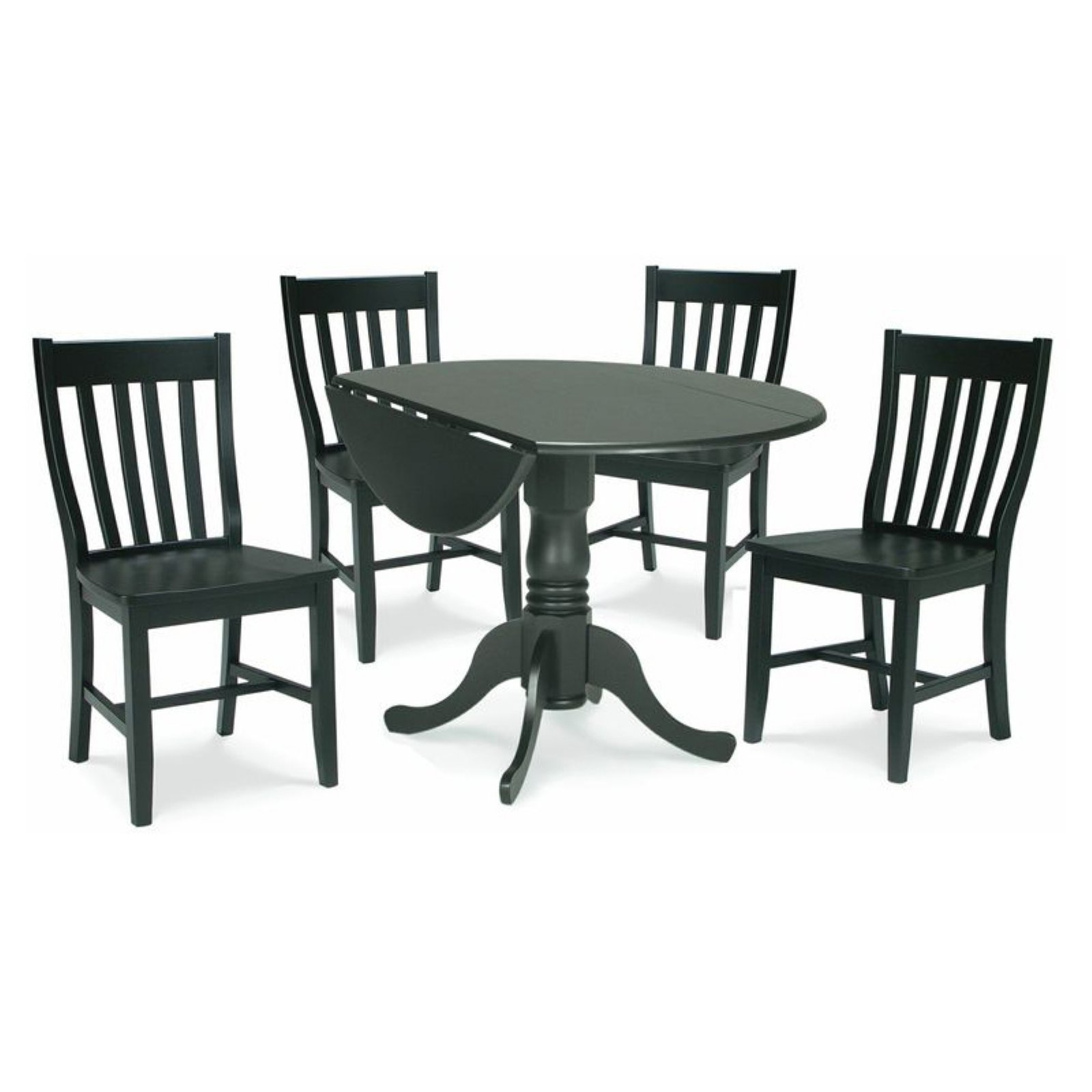"42"" Dual Drop Leaf Table with 4 Schoolhouse Chairs"