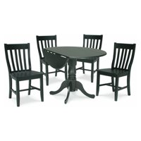 """42"""" Dual Drop Leaf Table with 4 Schoolhouse Chairs"""