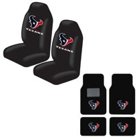 Texans Front And Rear Carpet Auto Floor liner mats And Seat Cover Set