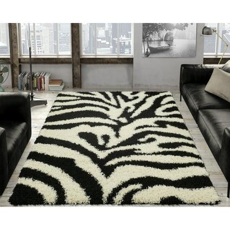 Ottomanson Animal Print Zebra Design High Pile Soft Shag