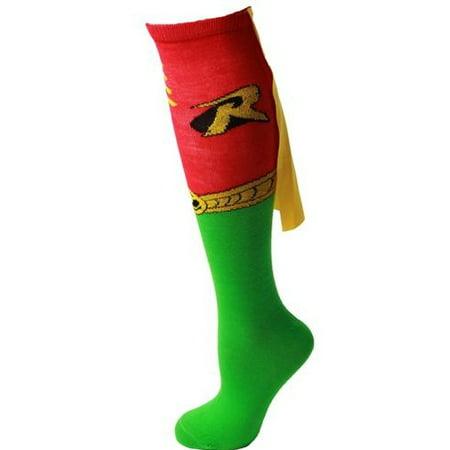 DC Comics Robin Logo One Pair Cape Knee High Socks [Red/Green - Ages 14+]](Robin Socks)