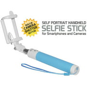 Self-Portrait Handheld Selfie Stick for Smartphones and Cameras, Light Blue