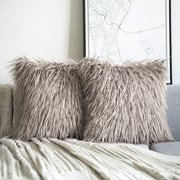 """Phantoscope Merino Style Faux Fur Series Decorative Throw Pillow Cover, 18"""" x 18"""", Beige, 2 Pack"""