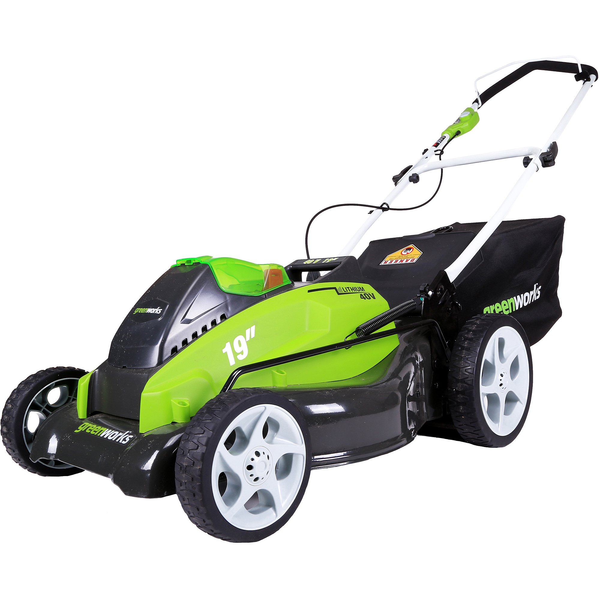 "GreenWorks 25223 40V 19"" Cordless Lawn Mower, Includes 2 Batteries and a Charger"