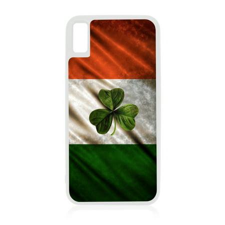 Flag Ireland Waving Irish Flag Shamrock Design White Rubber Case for iPhone XR - iPhone XR Phone Case - iPhone XR Accessories (Shamrock Phone Case)