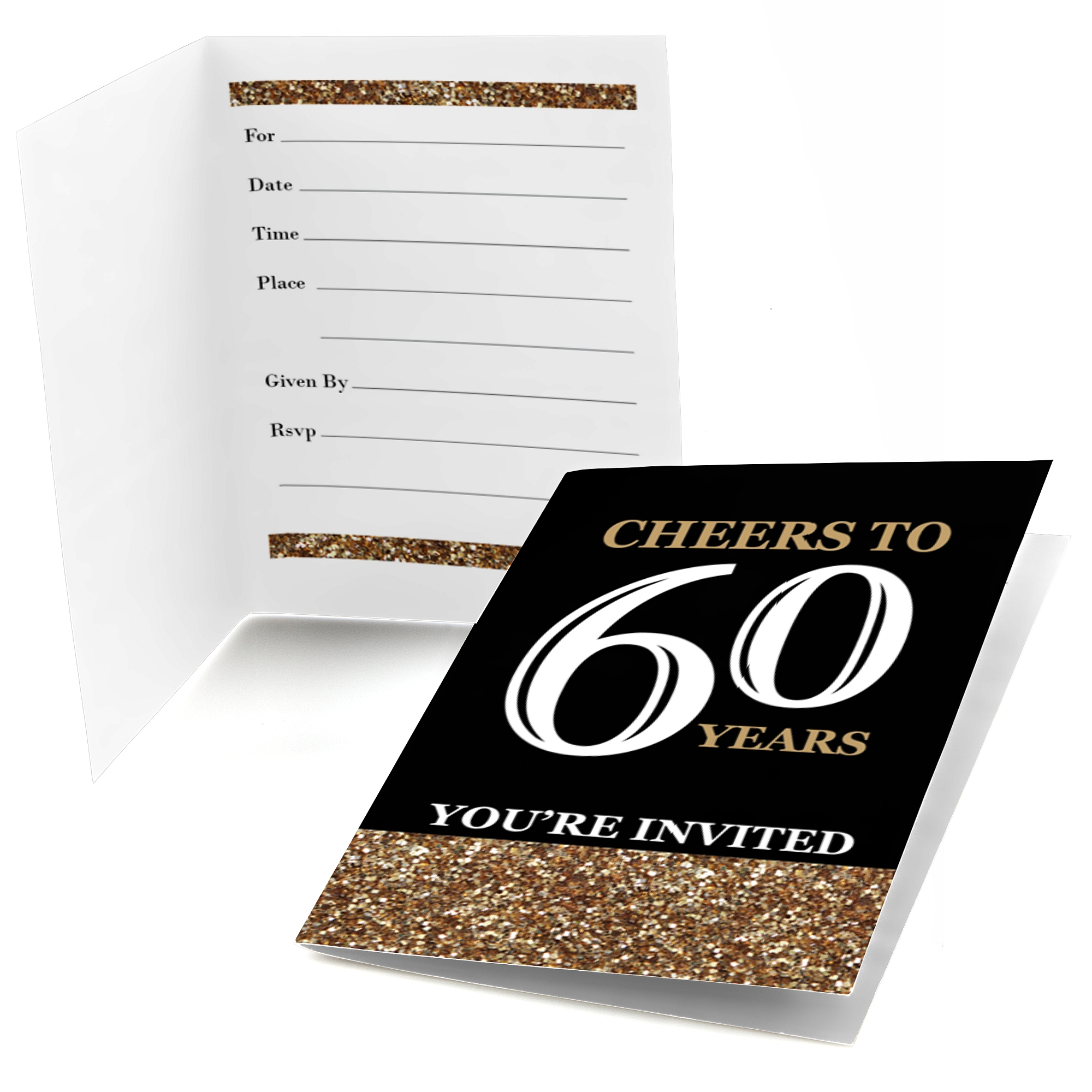 Adult 60th Birthday - Gold - Fill In Birthday Party Invitations - Set of 24