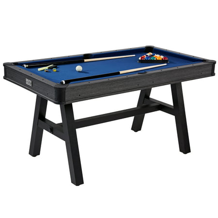 Barrington 60 Inch Harrison Collection Pool Table with Cue Set and Accessory Kit, Blue Cloth ()