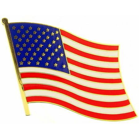 American Flag Wavy Pin 1 1/2