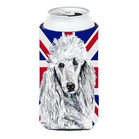 Black Standard Poodle With English Union Jack British Flag Tall Boy bottle sleeve Hugger - 22 To 24 Oz. - image 1 de 1