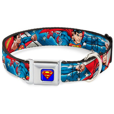 Dog Collar SMC-Superman Blue - Superman Action Poses Stars & Stripes - Pet Collar - Superman Pet