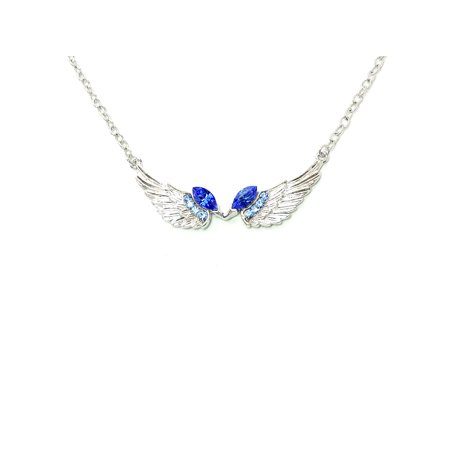 - Faship Angel Wings Necklace Pendant Charm Clear Rhinestone Crystal
