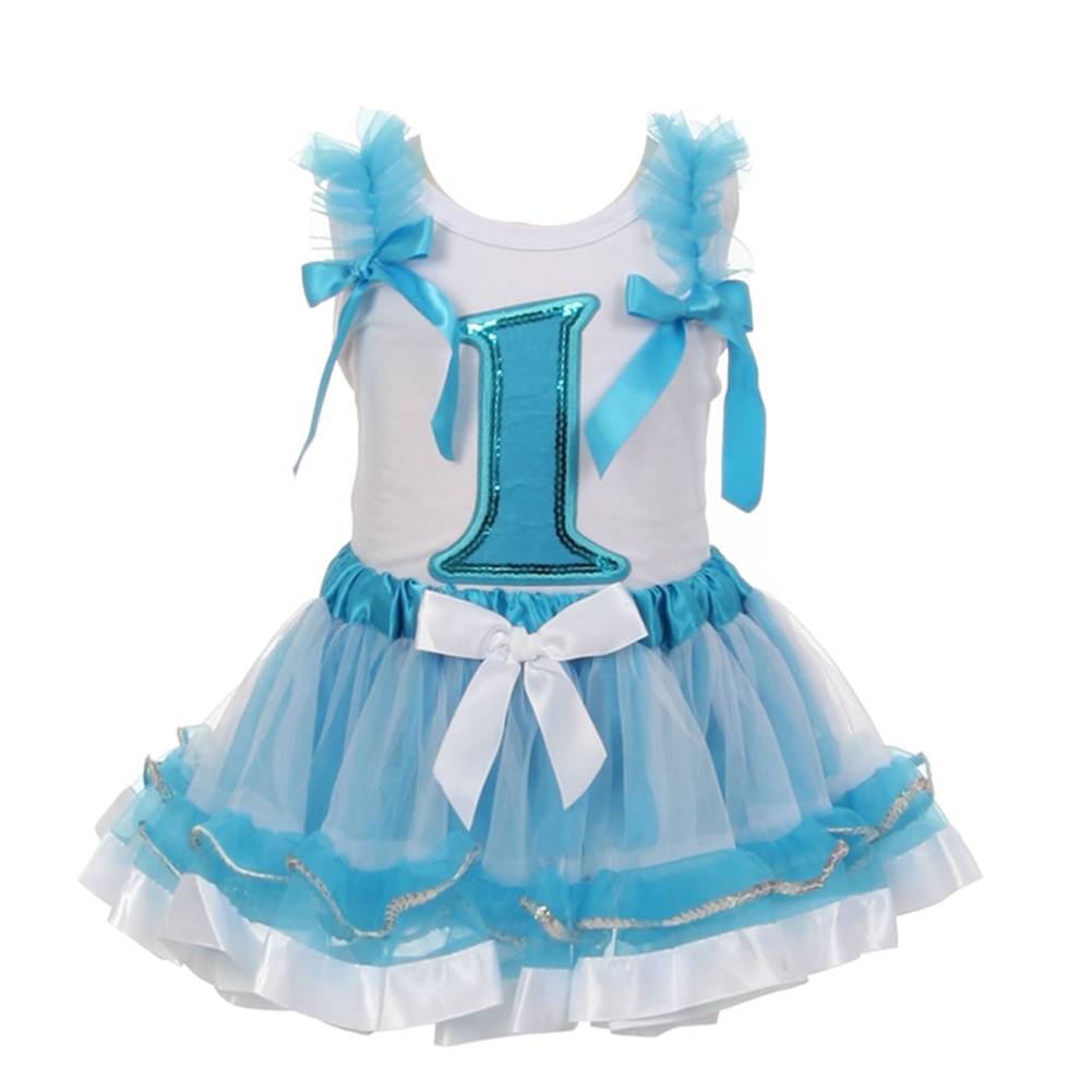 Little Girls White Blue Birthday Number Shirt 2 Pc Tutu Skirt Set 12M-5