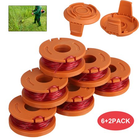 """EEEKit 6pcs Grass Trimmer Spool Line 0.065"""" 10ft, 2pcs Replacement Auto Feed Spool Cap for Worx String Trimmers: Worx WG154 WG163 WG160 WG180 WG175 WG155 WG151"""