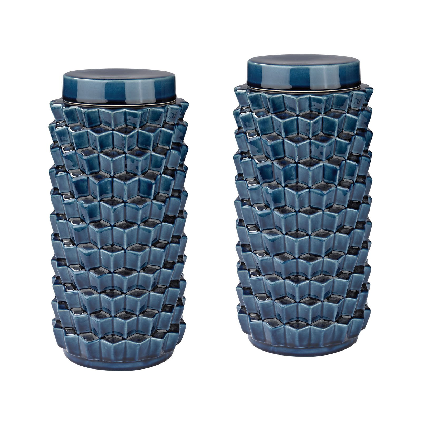 Dimond Home Accordion Crackled Blue Jar - Set of 2