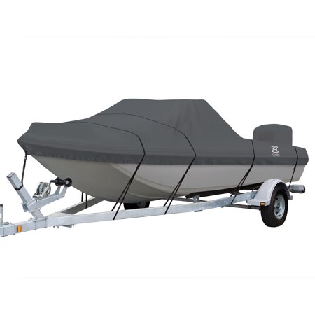 73 Cover - Classic Accessories StormPro™ Heavy Duty Tri-Hull Outboard Cover with Support Pole, Fits Boats 13'6