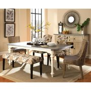 La Merenda Tropical Magazine Inspired Design Metal Top Dining Set 1 Table, 4 Parson Side Chairs