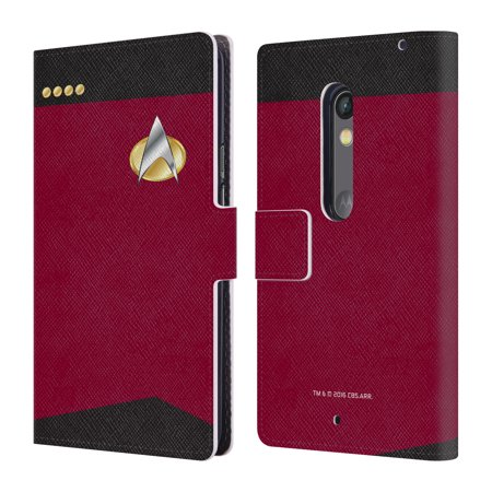 OFFICIAL STAR TREK UNIFORMS AND BADGES TNG LEATHER BOOK WALLET CASE COVER FOR MOTOROLA PHONES (Star Trek Tng Uniforms)