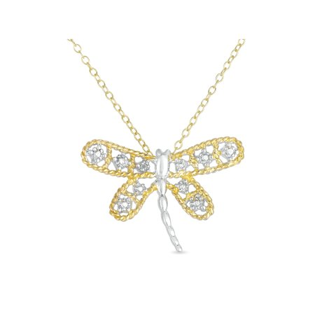 Diamond Accent Two Tone 18kt Gold-Plated Dragonfly Pendant,