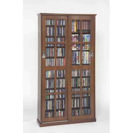 Sliding Door Inlaid Glass Mission Media Cabinet (MS-700 Series)-Finish:Walnut by