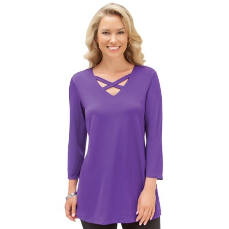 Women's Lattice V-Neck 3/4 Sleeve Long Tunic Top, Made in the USA, Medium, Purple  - Made in the USA ()