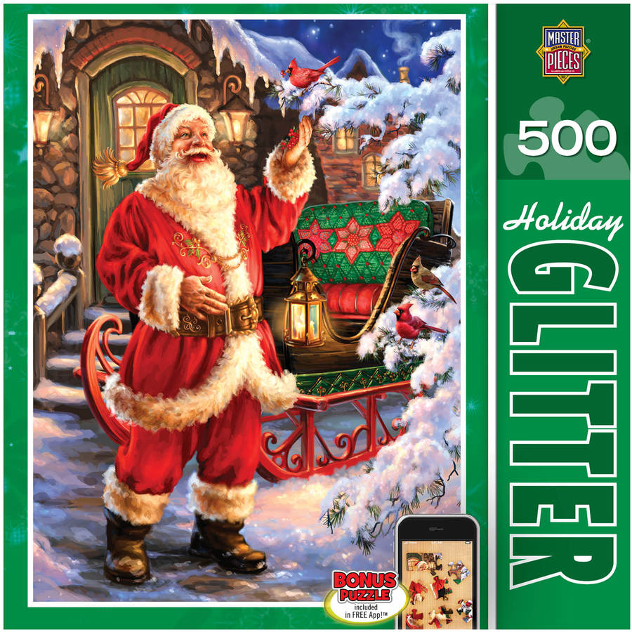 Holiday Glitter Puzzle, Jolly Saint Nick, 500 Pieces