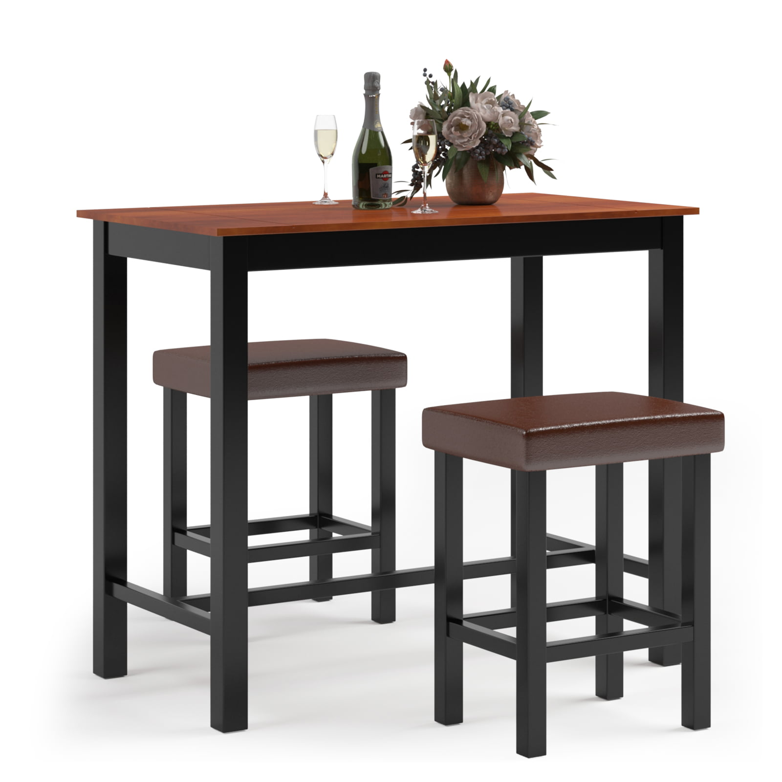 costway 3 piece pub table set counter height kitchen
