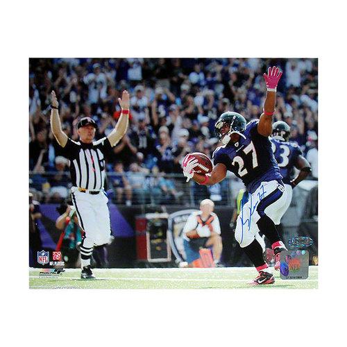 NFL - Ray Rice Baltimore Ravens International Bowl Touchdown Celebration Autographed 8x10 Photograph-Blue Ink