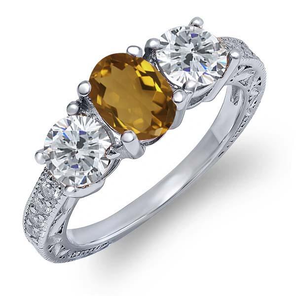 1.82 Ct Oval Champagne Quartz G/H Diamond 925 Sterling Silver Ring