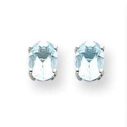 14K White Gold Aquamarine Earrings - image 2 of 2