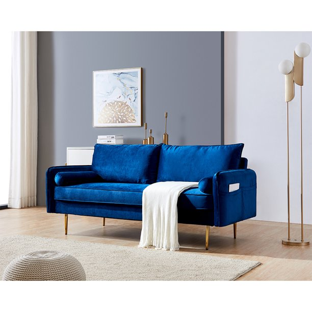 Seventh 71 W Mid Century Sofa Set Blue Velvet Fabric Sofa Couch With Side Pockets Modern Loveseat Sofa For Small Spaces Elegant Sectional Sofa Living Room Furniture Couches And Sofas Set Q411