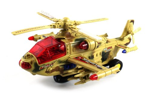 Air Force Whirlybird Battery Operated Bump and Go Toy Helicopter w  Flashing Lights,... by Velocity Toys