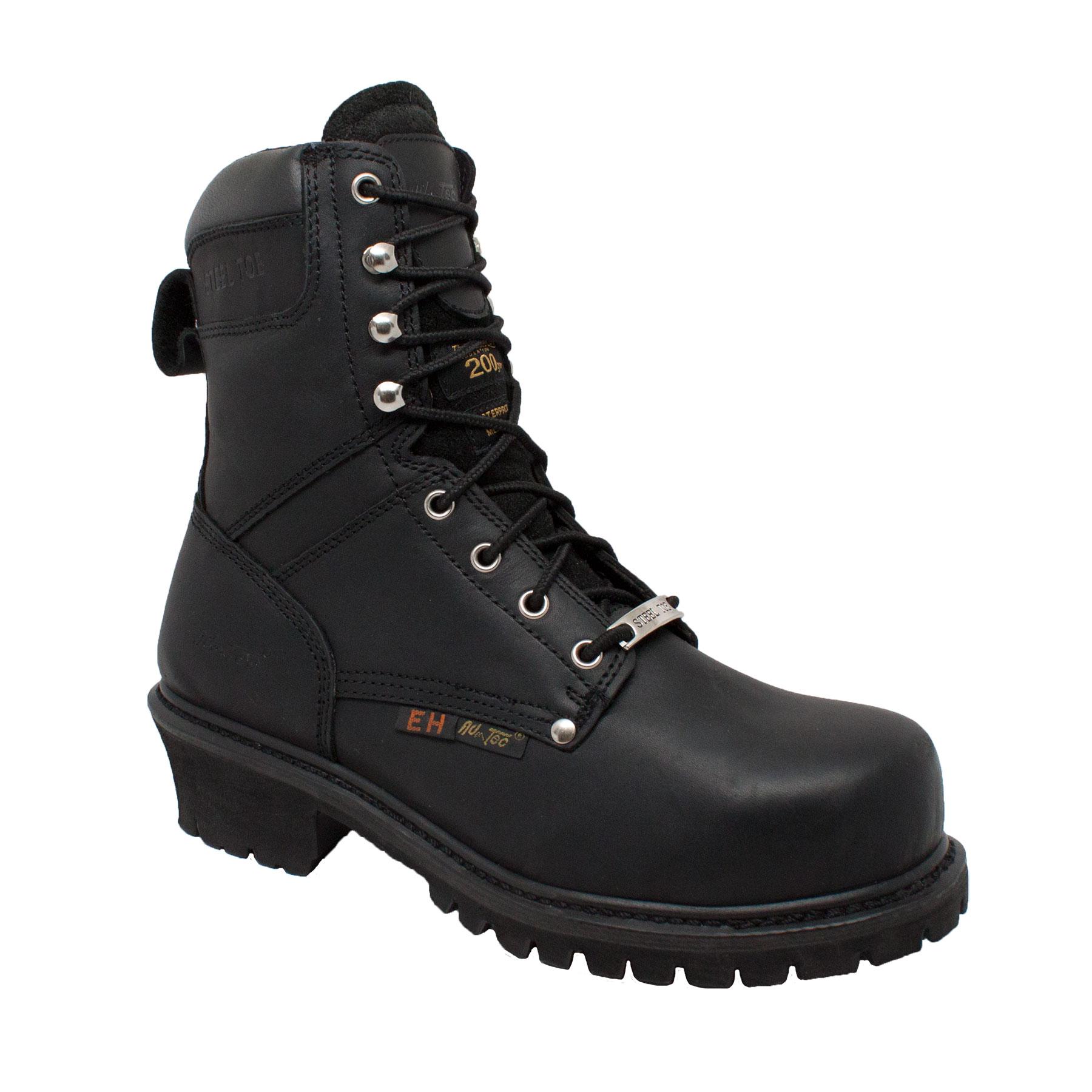 """Adtec Men's 9"""" Steel Toe Logger Boots, Black Oil Full Gra..."""