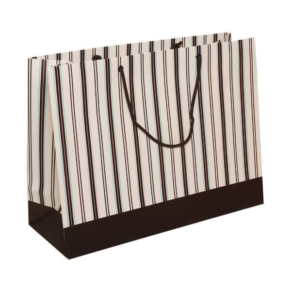 JAM Matte Striped Gift Bags - 16 x 12 x 6 - Brown -100/pack