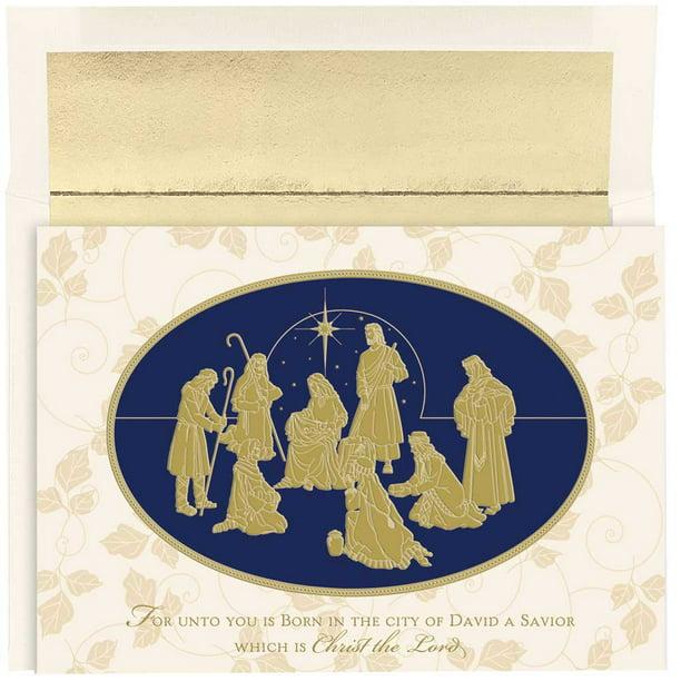JAM Christmas Card Set, Gold Nativity Christmas Cards, 16