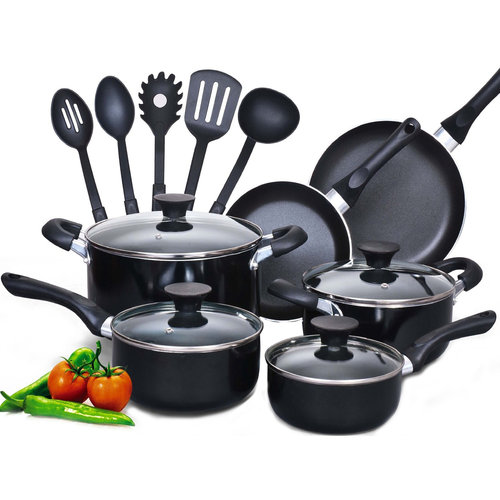 Cook N Home 15-Piece Aluminum Non-stick Soft Handle Cookware Set
