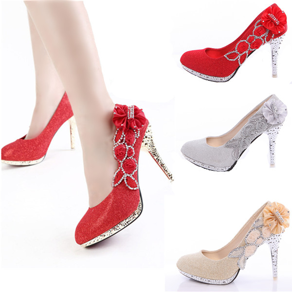 Fashion Women Glitter Vogue Lace Flowers Crystal High Heels Wedding Bridal Dancing Party Shoes