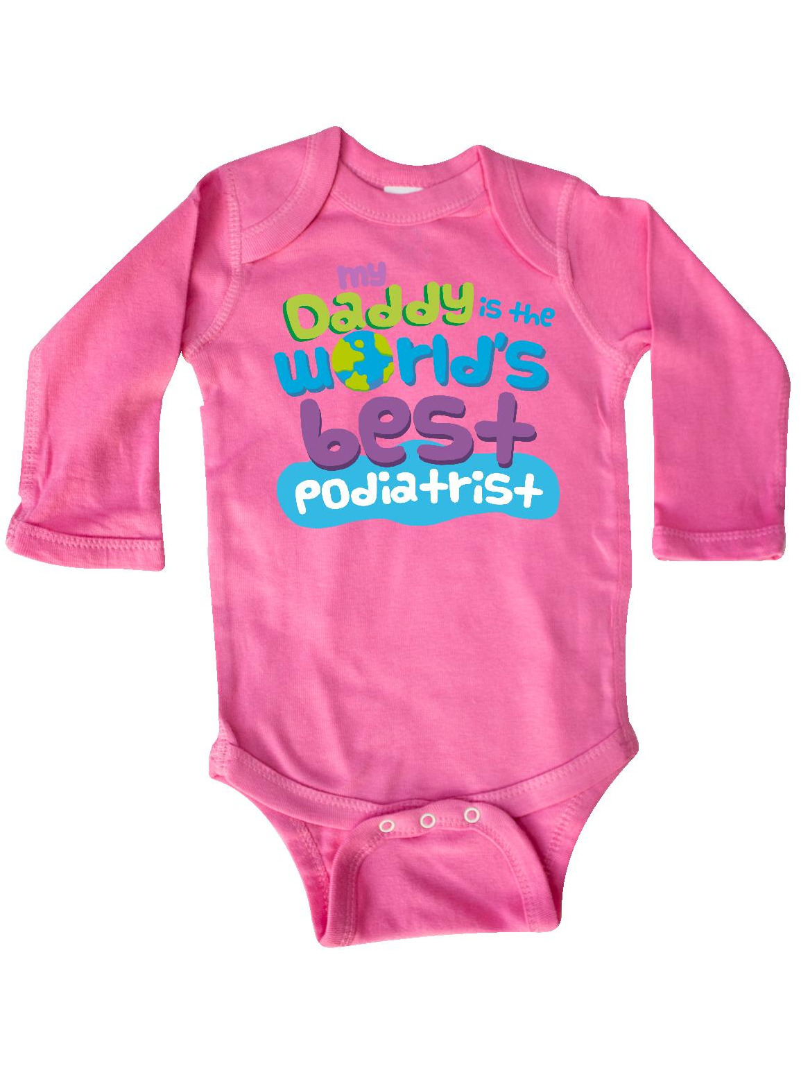 inktastic Daddy Worlds Best Podiatrist Long Sleeve Creeper