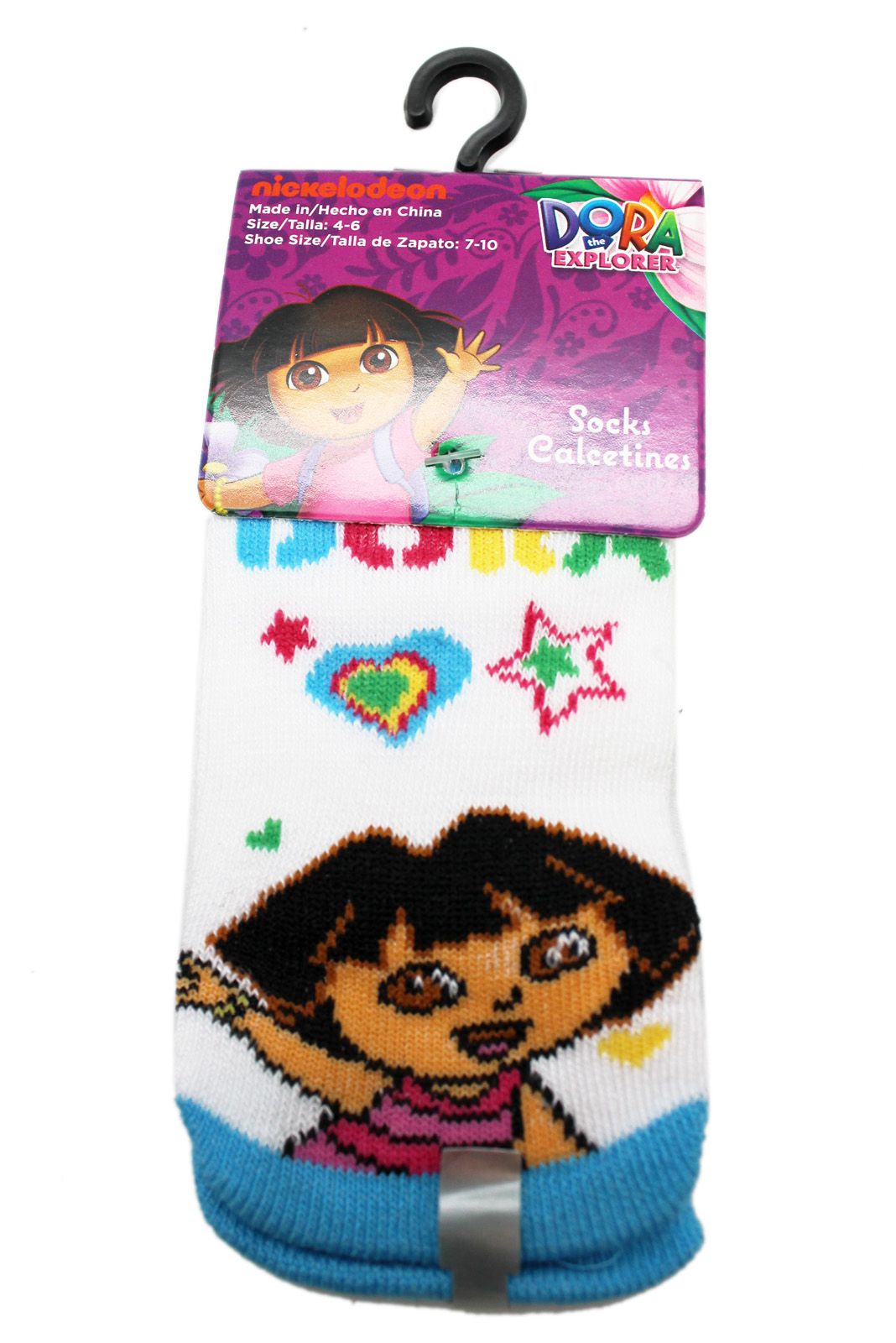 Dora the Explorer Heart of a Star White/Blue Toddler Socks (1 Pair, Size 4-6)