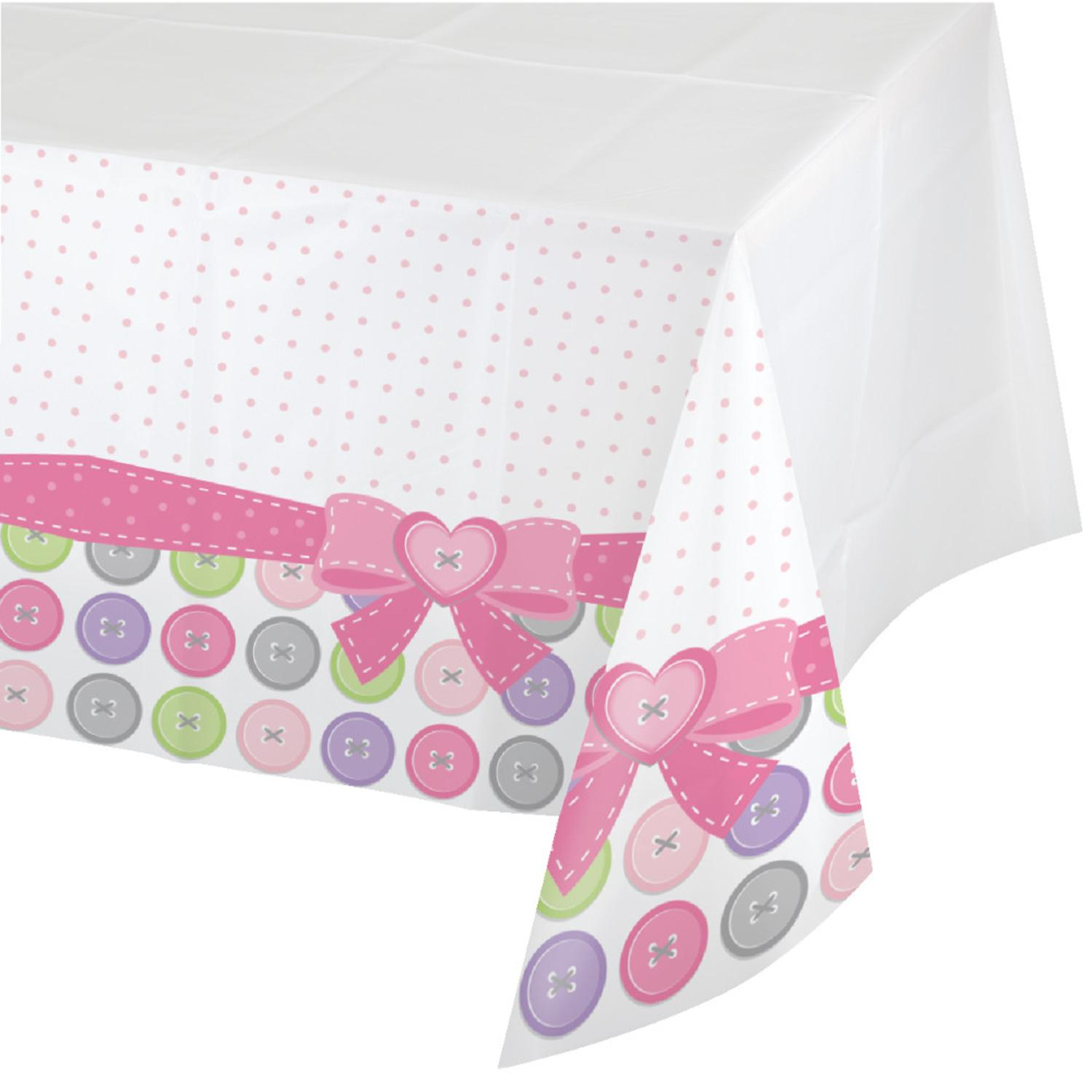 Pack of 6 Cute As A Button Girl Disposable Rectangle Plastic Banquet Party Table Covers 102
