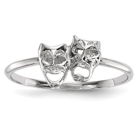 14k White Gold Polished Tragedy and Comedy Mask Ring Size 7 R615