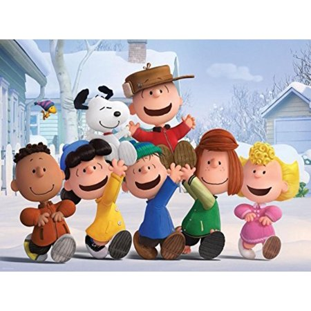 Peanuts Movie, The Family Puzzle, 400 Piece, Charlie brown, Snoopy, franklin, Lucy, Linus, Peppermint Patty & Sally in a winter scene By Ceaco