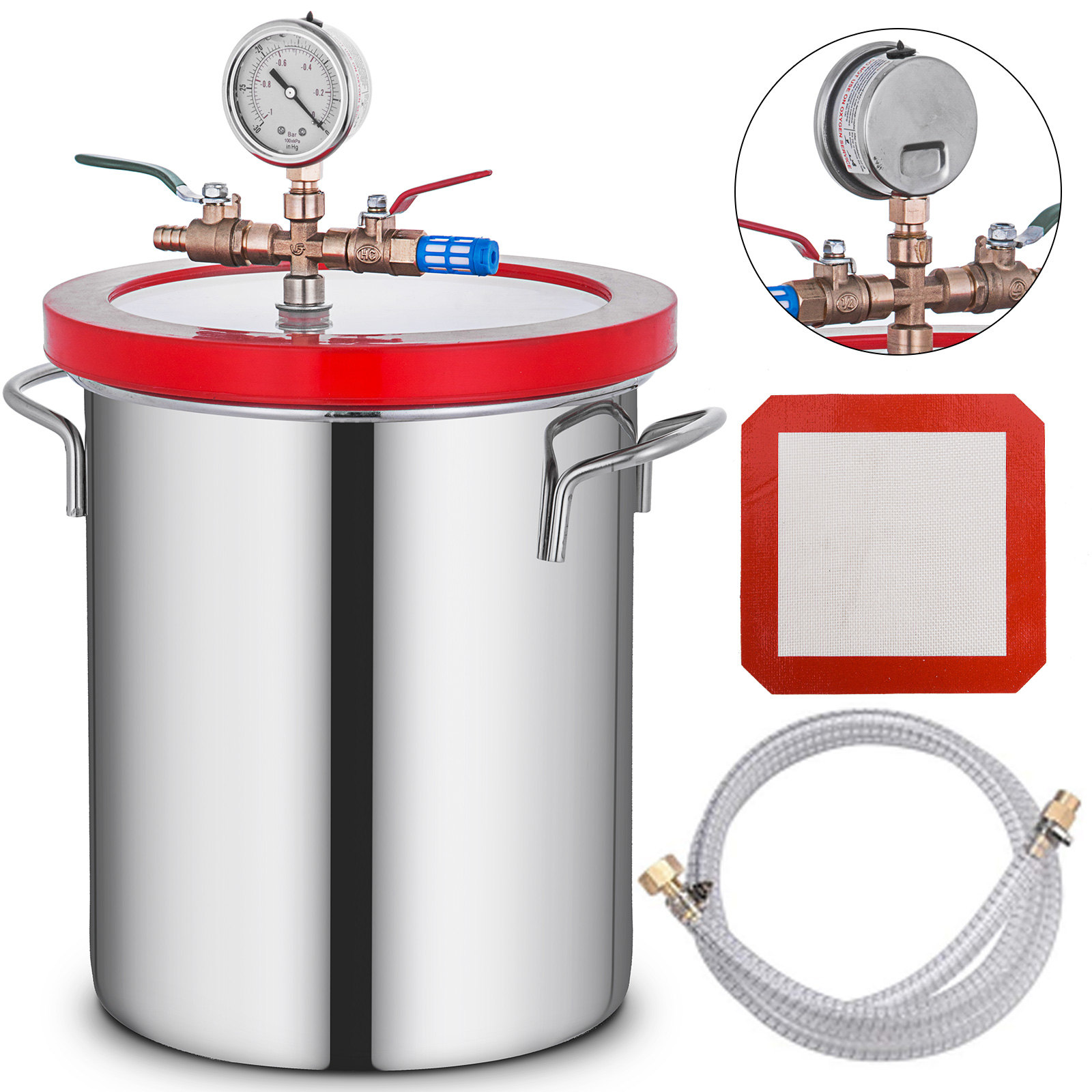 Details about  /2 Gallon Vacuum Chamber Degass Urethanes Silicone Epoxies 160ºF Steel