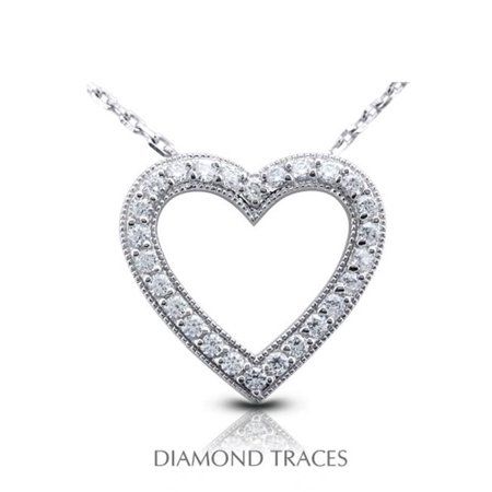 UD-GOS406-5143 0.84 Carat Total Natural Diamonds 18K White Gold Prong Setting Heart Shape with Milgrain Fashion